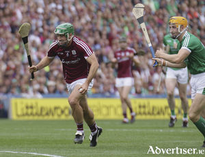 Galway's David Burke And Limerick's Séamus Flanagan In Action From The All Ireland Senior Hurling Championship Final In Croke Park, Sunday. Photo:-Mike Shaughnessy