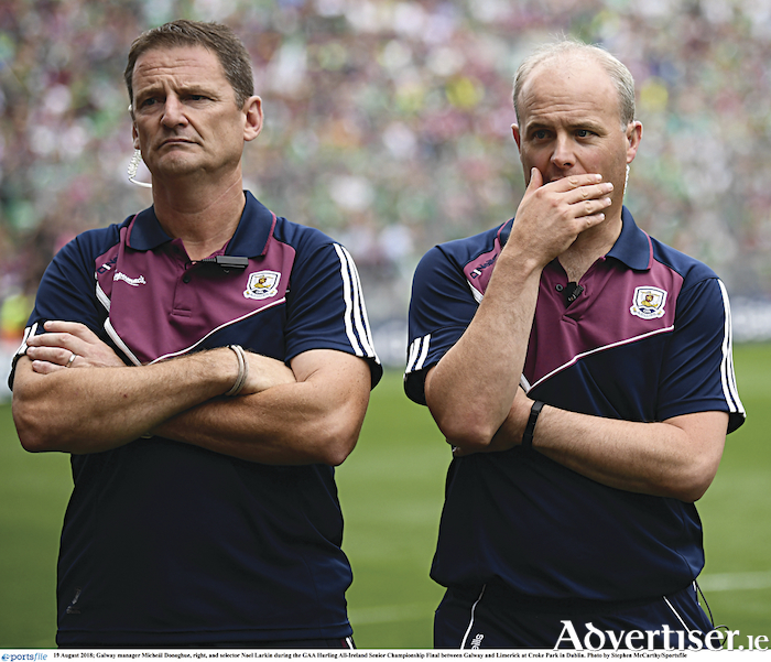 19 August 2018; Galway manager Micheál Donoghue, right, and selector Noel Larkin during the GAA Hurling All-Ireland Senior Championship Final between Galway and Limerick at Croke Park in Dublin. Photo by Stephen McCarthy/Sportsfile