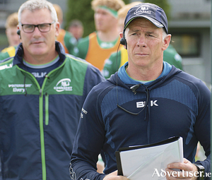 Connacht coach Andy Friend (right) with team manager Tim Allnutt at the pre-season friendly at Dubarry Park, Athlone,on Saturday. Photo:-Mike Shaughnessy