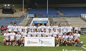 The Galway squad before the Liberty Insurance All-Ireland Senior Camogie Championship semi-final match between Galway and Kilkenny at Semple Stadium in Thurles, Tipperary. Photo by Matt Browne/Sportsfile