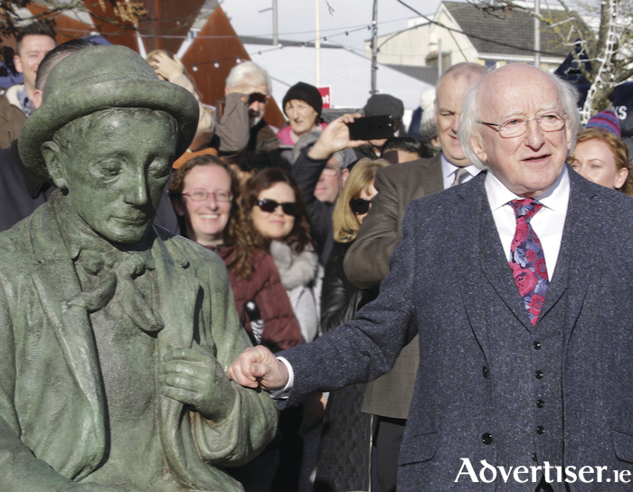 President Higgins at the unveiling of the O Conaire replica statue in Eyre Square.