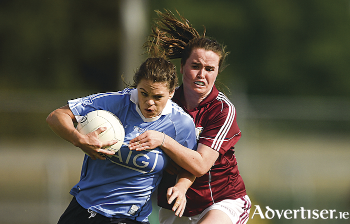 Galway's Nicola Ward tries to stop Noelle Healy of Dublin in the TG4 All-Ireland Ladies Football Senior Championship semi-final match between Dublin and Galway at Dr Hyde Park in Roscommon.