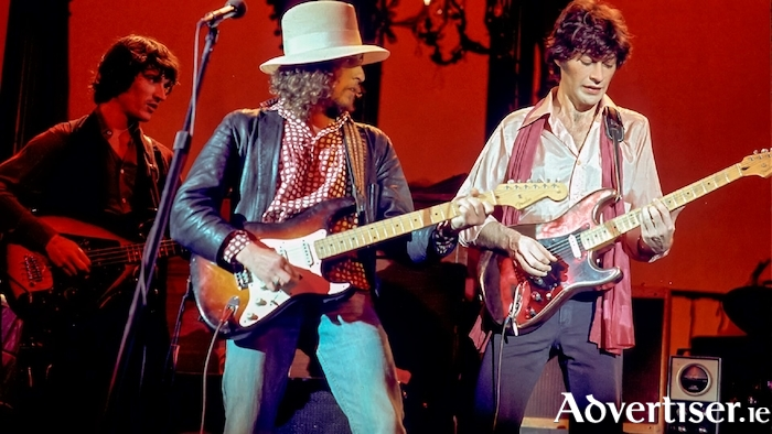 Bob Dylan and Robbie Robertson in The Last Waltz.