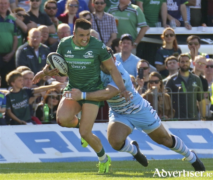 Connacht try scorer Cian Kelleher in m the opening game of the Guinness Pro 14 Championship against Glasgow at the Sportsground, Saturday. 