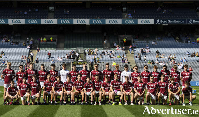 The Galway minor football squad 2018 at the Electric Ireland GAA Football All-Ireland Minor Championship final in Croke Park.