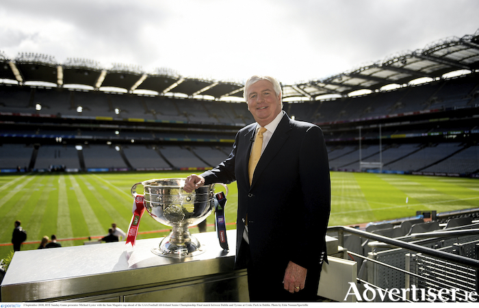 2 September 2018; RT? Sunday Game presenter Michael Lyster with the Sam Maguire cup ahead of the GAA Football All-Ireland Senior Championship Final match between Dublin and Tyrone at Croke Park in Dublin. Photo by E?in Noonan/SportsfileFormer Tuam Herald journalist, Barnaderg's Michael Lyster pictured at Croke Park last Sunday after retiring from The Sunday Game. Photo: Sportsfile