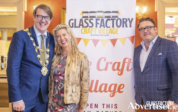 Pictured at the opening of the Craft Village are Mayor Niall McNelis, Hazel Hendy, and Roger O'Sullivan.