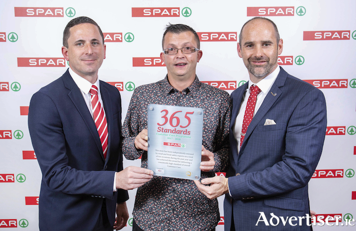 Pictured at the SPAR 365 Standards Customer Care Programme Awards celebrating outstanding retailing excellence at the City West Hotel were (left to right): Gerry Burke, SPAR Retail Operations Advisor, Shane Hall SPAR Corrib Oil Ballyhaunis, SPAR Express Corrib Oil Ballinrobe, SPAR Express Corrib Oil Castlebar, SPAR Express Corrib Oil Louisburg and SPAR Express Corrib Oil Swinford and Eric Shally SPAR Regional Manager.