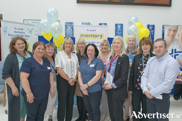 Photographed at the Butterfly Scheme talk at Mayo University Hospital, Castlebar, were from left to right: Lucy Martindale (Assistant General Manager), Michelle Redmond (CNM 2, Dementia Care), Ann Lavelle (Allocations Liaison Officer), Ann Noon (Butterfly Scheme Founder), Barbara Hodkinson (Butterfly Scheme Founder), Ann Marie Browne (Cardiac Rehab), Annette Cuddy (Director, CNME), Mona Curry (ADON), Ruth Hoban (Nurse Tutor, CNME), Claire Moran (Medical Records Officer), Fran Power (CNM 3, Dementia Care). Photo: Keith Heneghan.