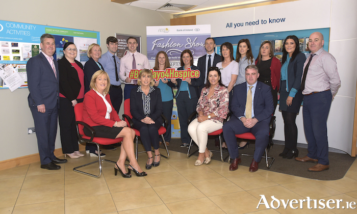 Staff and management from Bank of Ireland Castlebar branch at the launch of the upcoming fashion show, to raise funds for their chosen charity, Mayo Roscommon Hospice, which will be held on Thursday September 20 in the CastleCourt Hotel Westport. Photo: Ken Wright Photography 2018,