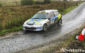 Brian Lavelle and Lorcan Moore in action during the Sligo Stages Rally, they were the highest placed Mayo team overall. Photo: Michael Staunton.
