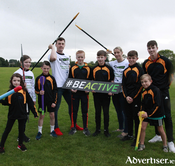 "Pictured at the launch of the Ballinrobe Get Active Night ""Festival of Sport"" on Saturday September 29 were Mayo GAA stars Diarmuid O'Connor and Cora Staunton with young sportspeople from Ballinrobe."