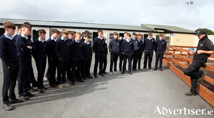Ballinrobe Racecourse Track Manager Cathal Flannelly, speaking to St Colmans College students at the Transition Year Education Day at the racecourse. Photo: Trish Forde.
