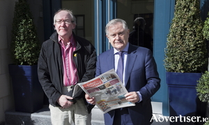 Labour leader Brendan Howlin and the Galway Advertiser's Charlie McBride.