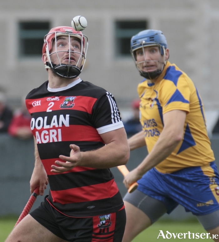 Cappataggle's Declan Cronin and Portumna's Ivan Canning in action from the Salthill Hotel Galway Senior Hurling Championship game at Duggan Park, Ballinasloe, Saturday. 			Photo:-Mike Shaughnessy