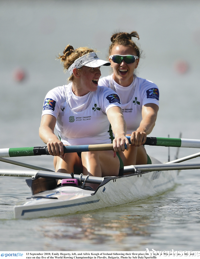 Emily Hegarty, left, and Aifric Keogh following their first place finish in their Women's Pair semi-final race on day five of the World Rowing Championships in Plovdiv, Bulgaria. Photo by Seb Daly/Sportsfile