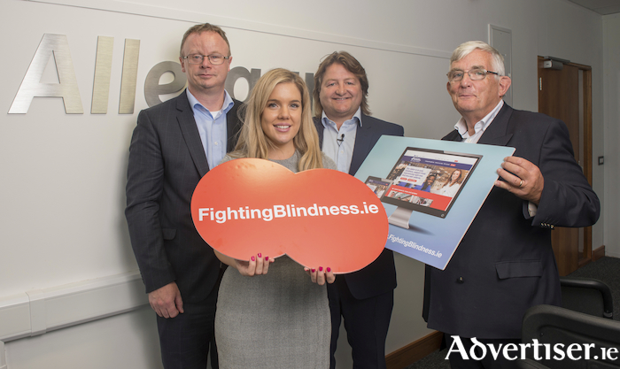 Paul Coffey (vice president and managing director, Allergan Westport), Amanda Kenny (communications manager, Fighting Blindness), Shane Byrne (former rugby international) and Prof Brendan Buckley (chairman of the board, Fighting Blindness) at Allergan's Patient Focus Day in Westport.