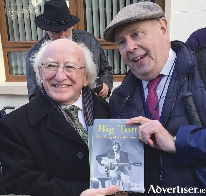President Michael D Higgins with Galway writer and broadcaster Tom Gilmore at the events in Castleblayney at the weekend to honour the memory of Big Tom.