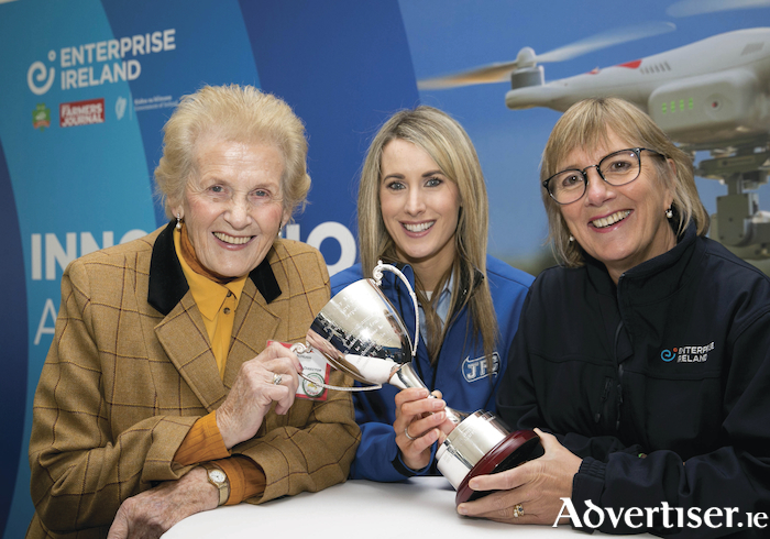 Pictured are Anna May McHugh, managing director, National Ploughing Association and Julie Sinnamon, CEO, Enterprise Ireland presenting Miriam Concannon from JFC Agri with the Anna May McHugh Female Leadership Award at the Enterprise Ireland Innovation Arena at the National Ploughing Championships 2018.