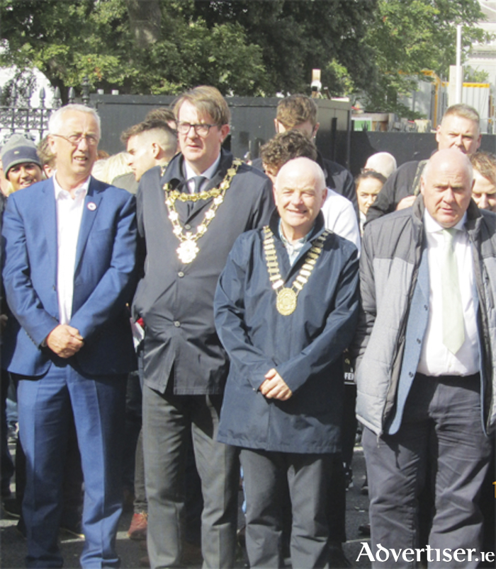 Town Mayor, Cllr. Frankie Keena, numbered amongst the large numbers who took part in the 'respect and loyalty' parade.