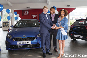 Pictured at the handover of the new Kia Ceed are Kirsten Mate Maher, the Rose of Tralee 2018, Woojai Kim, president of Kia Motors Ireland, and Gerry Sheridan from Sheridan Motors in Waterford.