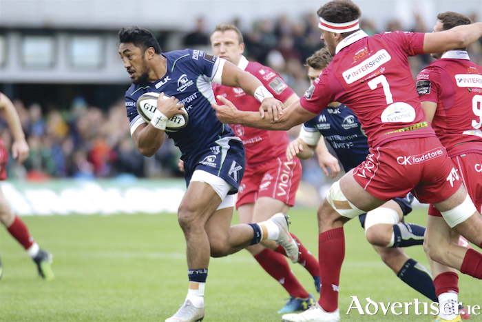 Bundee Aki makes his return to the Sportsgraound in action from the Guinness Pro 14 game against Sacrlets, Saturday. Photo:-Mike Shaughnessy