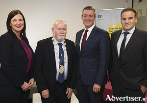 Emer Joyce, director EY Galway; Deputy Mayor of Galway, Cllr. Donal Lyons; Frank O'Keeffe, managing partner EY Ireland; Paraic Waters, Director EY Galway at the opening of EY's new expanded office space on Eyre Square, as EY announces the creation of thirty five new jobs in Galway city by 2020.
