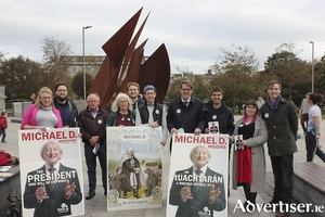 The Galway Campaign To Re-elect President Michael D Higgins at it's launch in Eyre Square last week.
