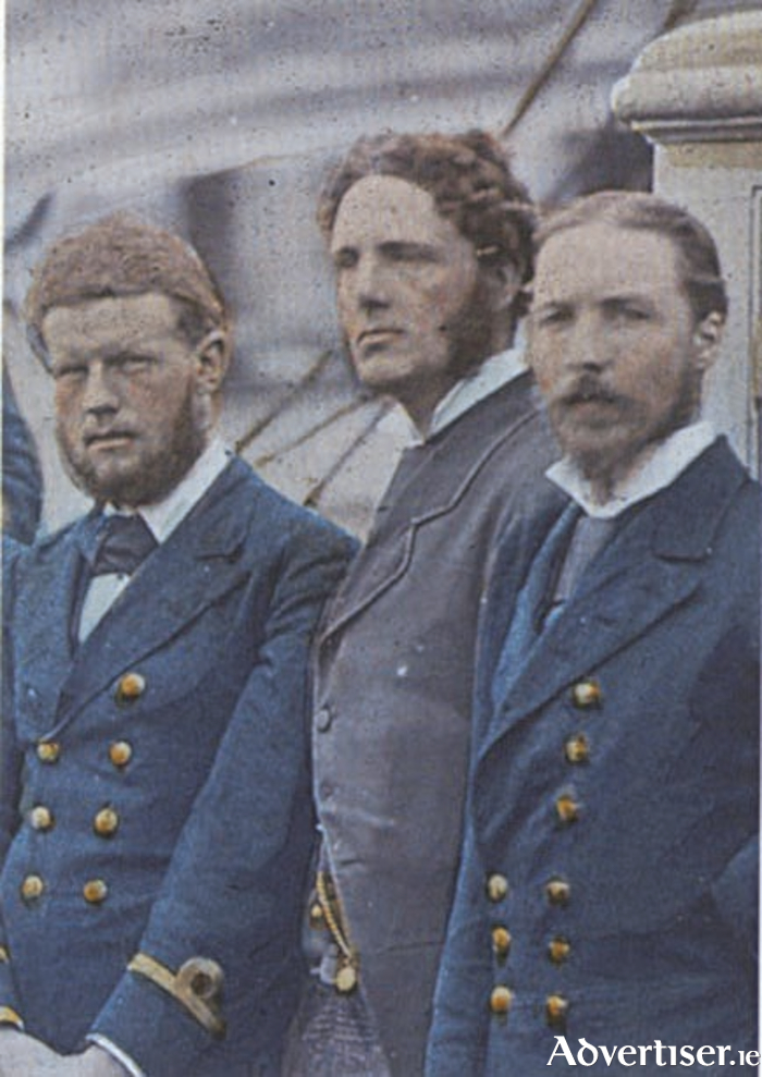 The 'Grecian profile' of Henry C Hart (centre) on board the HMS Discovery at the start of the British Arctic expedition 1875 - 1876.
