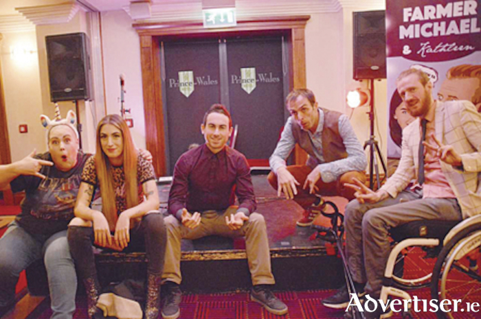 Therese Cahill, Sinead McGrath [Kathleen] , John Paul Murphy, Johnny Graham, Steveo Timothy [Farmer Michael], ahead of their performance in the Prince Bar.