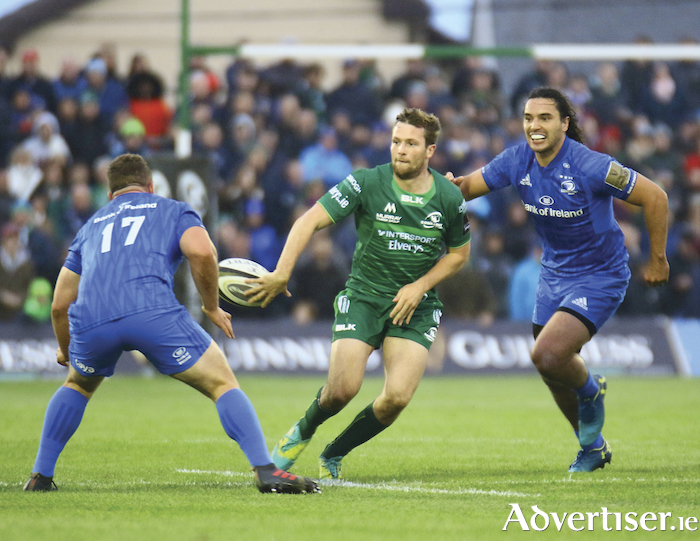 Slight of hand: Connacht's Jack Carty in action against Leinster's Ed Byrne and James Lowe  in the  Guinness PRO14 game at the Sportsground on Saturday. 						Photo:-Mike Shaughnessy