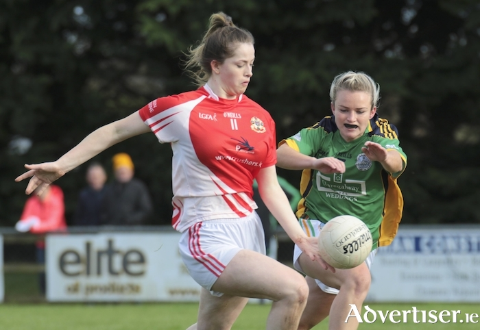 Claregalway's Orla Murphy attempts to halt Kilkerrin-Clonberne's Maeve Flanagan in the Galway GLFA senior championship semi-final at Annaghdown on Sunday. 