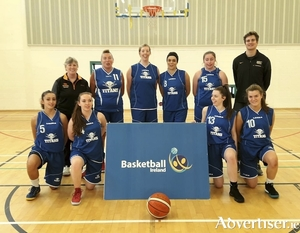 Team DNA Nightclub Titans Ladies: Coach Carol O'Connor, Mary Grealish (c),  Lelia O'Connor ; Barbara Trant, Grainne Conneely, and coach Harrison Deneka. Front,  Alexi Baude, Katie Coughlan, Roisin Sweeney, and Kate Connaughton.
