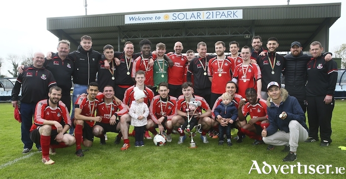 Winning time: Ballyhaunis Town celebrate winning the Premier Cup last Sunday in Solar 21 Park.