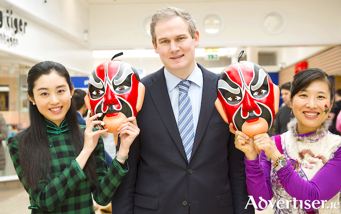 The new Government chief whip, Galway West TD Seán Kyne, pictured in 2017 with Yunhe Chang and Jun Yan, at an event at the Galway Education Centre. Photo:- Andrew Downes  xposure