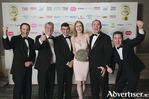 From left: Jarlath O'Dwyer and Pat McDonagh from Supermac's are pictured with Paul Murphy from category sponsor Irish Prestige Signs; Angie Walsh; Brian Joyce, and Paul Kennedy from The Galway Plaza.