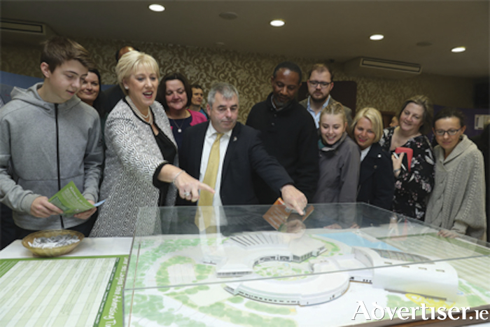 Pictured at the Center Parcs recruitment information day were Deputy Heather Humphreys TD, Minister for Business, Enterprise & Innovation, Deputy Kevin 'Boxer' Moran and Senator Gabrielle McFadden, who welcomed potential employees to the Longford Forest site on Friday last. Picture Jason Clarke.
