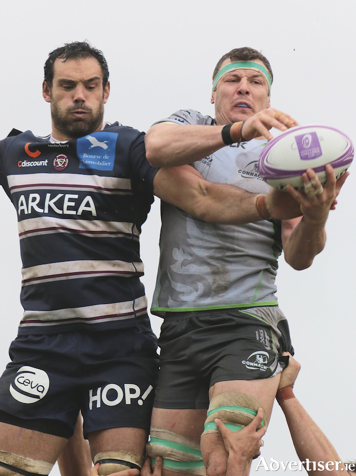 Connacht No 8 Robin Copeland and Bordeaux's Mariano Galarza in action from the European Rugby Challenge Cup game at the Sportsground on Saturday. 