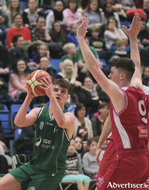 Moycullen's Paul Kelly in action from the Basketball Ireland game against UCD Demons at Kingfisher NUI Galway on Saturday. Photo:-Mike Shaughnessy