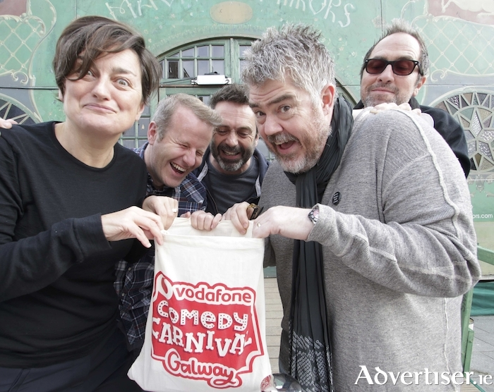 It's a bag of laughs....comedians Zoe Lyons, Tom O'Mahony, Phil Nichol, Phill Jupitus, and Tom Rhodes who are all appearing at the Vodafone Comedy Carnival Galway, outside the Spiegel Tent, Eyre Square on Wednesday. Photo:- Mike Shaughnessy