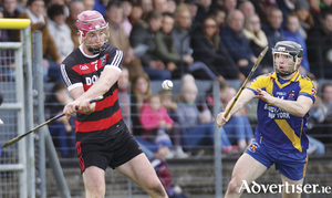 Cappataggle's Paul Claffey and Loughrea's Jamie Ryan in action from the Galway Senior Hurling Championship quarter-final at Duggan Park, Ballinasloe Sunday. Photo:-Mike Shaughnessy