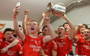 Band of brothers: Ciaran Gavin leads the celebrations in the Ballintubber dressing room after last Saturday nights county final. Photo: Sportsfile.