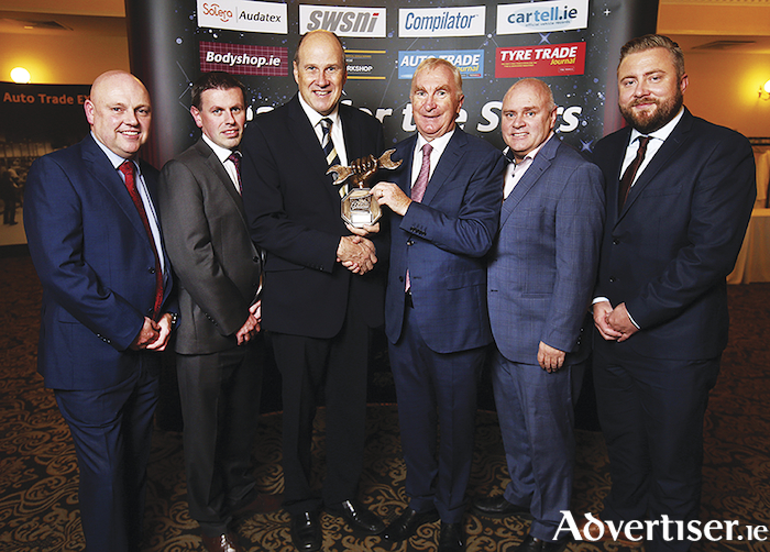 Tony Burke Motors, main Toyota and  Lexus dealer in Ballybrit, Galway, is the winner of the Aftersales Main Dealer of the Year in the Connacht/Ulster Regional Auto Trade Awards 2019 which took place last Saturday night in the Citywest Hotel, Dublin. Celebrating were Glenn O'Reilly, Aftersales Commercial Manager Toyota Ireland; Pat Masterson, Aftersales Toyota Ireland; Ivan Yates; Tony Burke, director Tony Burke Motors; Derek Cahill, Aftersales Toyota Ireland, and Michael Oporowicz, Aftersales Toyota Ireland.