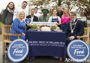 Dining with Sean-Pádraic: Elaine Donohue (left), programme co-ordinator for ERoG, and Mayor of Galway Cllr Niall McNelis launch Dine In Galway, happening in celebration of European Region of Gastronomy, from November 5 to 11, with producers and restaurant staff. Photo: Andrew Downes.