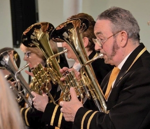 Tenor horn player Jackie Graham, a former musical director of Castlebar Concert band, performing at its gala concert at Mayo GMIT Campus. Photo: Michael Brophy.