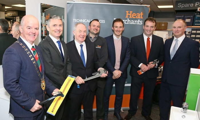 Celebrating the launch with Minister Ring and local political representatives are Alan Hogan, Heat Merchants Group CEO and Aiden John Derrig, Branch Manager Castlebar.