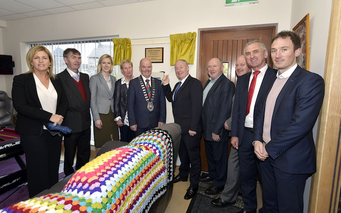 Pictured at the official opening of the Cairde Clubhouse by Minister Michael Ring were Senator Rose Conway-Walsh, Cllr Al McDonnell, Lisa Chambers TD, Margaret  Kelly (manager Cairde Club), Cllr Blackie Gavin (Cathaoirleach  Mayo County Council), Minister Michael Ring, Cllr Michael Kilcoyne,  Jimmy Murphy (chairperson of the board of management Cairde Club), Cllr Martin McLaughlin and Alan Dillon. Photo: Ken Wright Photography