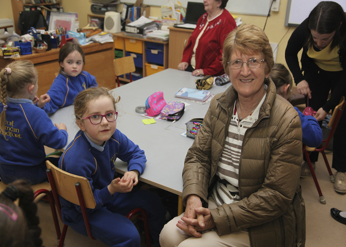 Sophie Brannick and Phyllis Brannick at grandparents day at Scoil Chomáin Naofa Roundfort