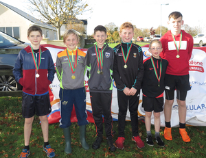 The Swinford U13 Boys team winners of the team event at the C&C Cellular/Vodafone Mayo Uneven Ages Cross Country Championships hosted by Moy Valley Athletic Club in Belleek recently.