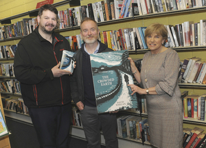 Pictured at Westport Library were author David Whelan with library staff Keith Martin (left) and Dolores Power. Photo: Conor McKeown